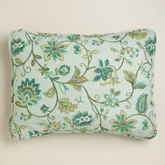 Floral Liliana Pillow Shams, Set of 2 - Really like the green and teal tones, also bringing in the burlap and white