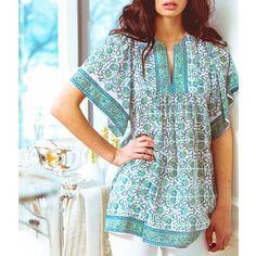 BELL Summer 2015 Angel Sleeve tunic top- block print, boho, bohemian, bohochic- www.aliciabell.com