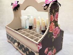 Nail Polish Organizer Wooden Storage Box, with Dividers and a Drawer, Roses Decoupage