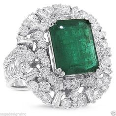 Womens 6.53 TCW 18K White Gold Emerald Gemstone and Diamond Cocktail Ring 7 #SageDesignsLA #Cocktail