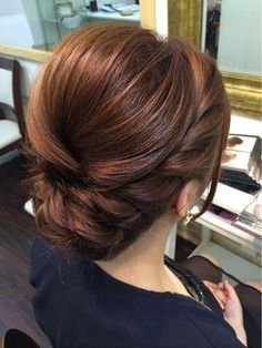 Elegant, polished, braided updo that would be perfect for any bridesmaid or brid. - Elegant, polished, braided updo that would be perfect for any bridesmaid or bridal hair theme. Fancy Hairstyles, Bride Hairstyles, Bridesmaids Hairstyles, Vintage Hairstyles, Bridesmaid Dresses, Hairstyle Ideas, Side Bun Hairstyles, Bridesmaid Makeup, Bridesmaid Ideas