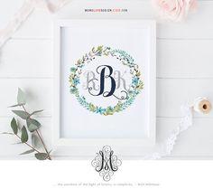 Floral Wreath Personal Monogram Design Family Crest Logo Design Interlocking Monogram Design Wedding Logo Calligraphy Art Printable Alphabet