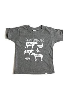 Kids Graphic Tee, Farm Animal Sounds Toddler Shirt, Kids Animal Shirt, Toddler Animal Shirt, Funny K - Nutztiere Funny Kids Shirts, Boys Shirts, Toddler T Shirts, Club Shirts, Animals For Kids, Farm Animals, Farm Clothes, Cow Shirt, Toddler Humor