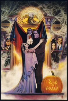 """The Munsters"" (Universal International, and some of their TV fiends, Barnabas Collins, Gomez and Morticia Addams Horror Movie Characters, Horror Movies, Cult Movies, Vintage Halloween, Fall Halloween, Gomez And Morticia, Morticia Addams, Monster Squad, Monster Mash"