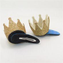 20 pçs/lote Glitter dourado coroa grampo de cabelo carnaval da princesa festa Tiara pressão de aniversário Hairpin feltro criança Sparkly Crown Hairpin(China (Mainland))