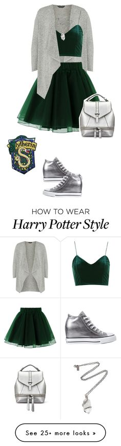 """""""House Pride Fashion: Slytherin for Fall"""" by mary-janeglitters on Polyvore featuring Dorothy Perkins, Chicwish, Topshop, Converse and Pamela Love"""