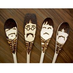 @Megan Gehrke Sgt. Pepper Moustache Spoons - Wooden - Set of 4 Beatles. $30.00, via Etsy.-I saw these and thought of you!