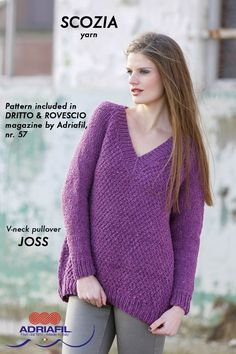 """Joss"" V-neck pullover, SCOZIA yarn by Adriafil Pattern included in Dritto & Rovescio magazine, nr. 57 http://www.adriafil.com/uk/scheda-rivista.html?id_rivista=57  #adriafil #vneck #filato #yarn #madeinitaly #pullover #pull #moda #fashion #trends #trend #tendence #purple #tweed #knit #knitting #tricot #tricoter #madeinitaly #knitwear #pattern #handmade"