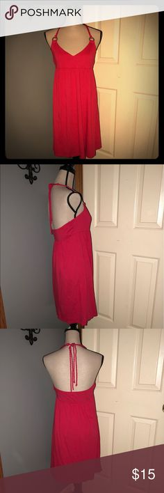 """👗Old Navy Red Nautical Halter Sundress! Modal 60%cotton  40%modal Red with twisted rope tie halter  36.75"""" L  Bundle & save! 💰⭐️😁 Old Navy Dresses Midi"""