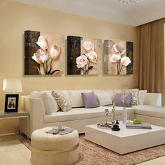 Wall Art Canvas Painting Abstract White Flowers Painting On Canvas Home Decor Wall Pictures For Living Room Wall Painting Elegant Living Room, Living Room Modern, Home Living Room, Living Room Decor, Living Room Sofa Design, Living Room Color Schemes, Living Room Designs, Colour Schemes, Living Room Pictures