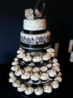 Black White Wedding Cupcake Tower By American Diner Adelaide