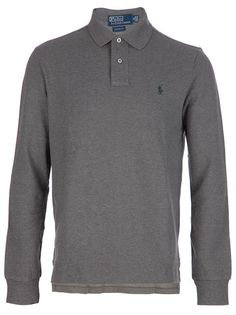 Tonal grey cotton polo shirt from Polo Ralph Lauren featuring a classic collar, a short front button placket, long sleeves with ribbed cuffs, a contrasting green stitch design logo at the chest and a dropped rear.