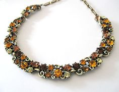 Rhinestone Necklace Signed Lisner Autumn by LovesVintageDelights, $58.00 #jewelryonetsy #jetteam