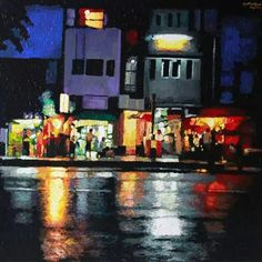 Yangon night in the rain (2014)  Kyee Myintt Saw  Acrylic on Canvas