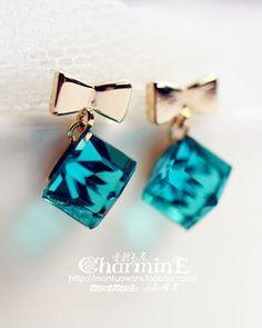 crystal bow earrings - http://zzkko.com/n150783-an-rudder-Varney-Korea,-jewelry-dark-blue-square-crystal-bow-earrings-earrings.html $5.08