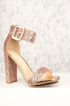 8439cd72d13e Sexy Rose Gold Chunky Heel Platform Pump Open Toe High Heels Glitter