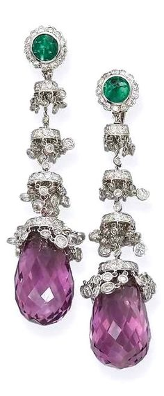 A PAIR OF DIAMOND AND GEM-SET EAR PENDANTS, BY MICHELE DELLA VALLE Of chandelier design, each emerald and diamond cluster surmount supporting spectacle-set diamond fringes and a briolette amethyst drop