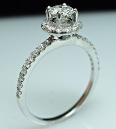 Great Gatsby Solitaire Halo Diamond Engagement by CJsBridalCloset