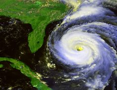 Hurricane Fran as seen by GOES-8 (after some true color processing) on September 4, 1996.