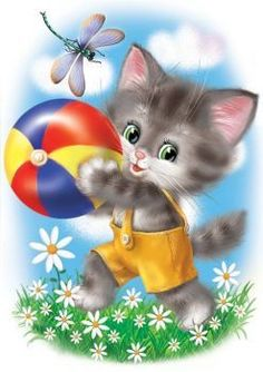 """Dispaint Full Square/Round Drill DIY Diamond Painting """"Cartoon cat"""" Embroidery Cross Stitch Home Decor Cartoon Cartoon, Kitten Cartoon, Painting For Kids, Drawing For Kids, Cute Images, Cute Pictures, Kitten Images, Children Sketch, Cute Animal Drawings"""