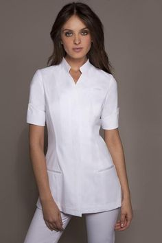 "Fashionable Spa Uniforms. Spa Tunic. The Niagara is a luxury ""couture"" Tunic & the ultimate embodiment of classiness & elegance. Elegant & Stylish uniforms. Medical Tunic."
