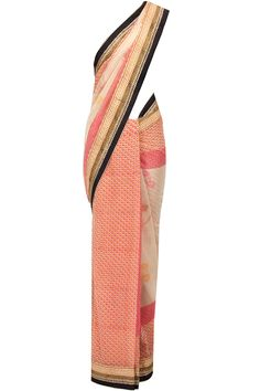 Red printed sari with black embroidered blouse available only at Pernia's Pop-Up Shop.