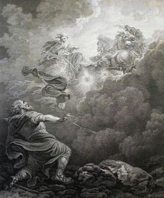 153. The Ascent of Elijah. 2 Kings cap 2 vv 10-11. Loutherbourg