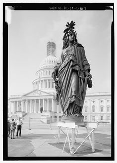 The Statue of Freedom just prior to be hoisted atop the Capitiol Dome. She is made of bronze.