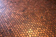 Copper penny floor… At The Standard Grill in the Standard Hotel, New York. I want to do this on a table top in silver... Maybe Nickels???