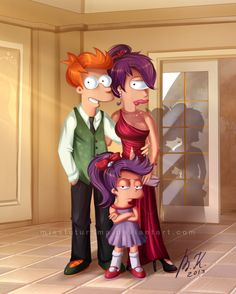 "Fry, Leela and Alice ready for ""Bender's Wedding"" by MissFuturama 