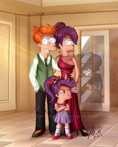"Fry, Leela and Alice ready for ""Bender's Wedding"" by MissFuturama | #Futurama"