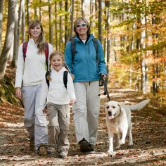 """Ensure family dog knows trail etiquette on day hike with kids. Read more tips for day hiking with children in """"Hikes with Tykes: A Practical Guide to Day Hiking with Kids."""""""