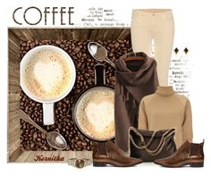 """""""nr 1011 / Coffee Beans"""" by kornitka ❤ liked on Polyvore featuring Caffé, 7 For All Mankind, J.W. Anderson, STELLA McCARTNEY, 8, Emporio Armani and Accessorize"""