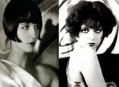 Louise Brooks and Clara Bow, possibly the two greatest female screen icons of beauty style. Their individual beauty helped define the flapper look and the jazz age of the roaring twenties.This film celebrates them both. Vintage Glamour, Vintage Beauty, Vintage Fashion, Vintage Style, Louise Brooks, 1920 Fashion Trends, Locks, G Hair, Clara Bow