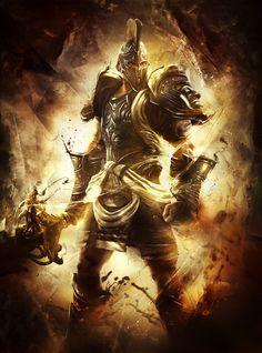 """Guerreiro Sagrado. Guardião. Cavaleiro Divino. Guerreiro Grego. -- Artista Desconhecido (arte do Jogo """"God of War - Ascension"""")."""