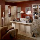 A custom built desk integrates seamlessly into the look of this comfortable office, with plenty of storage and style.