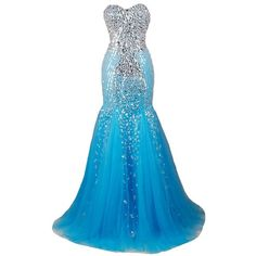 Kivary Mermaid Long Crystals Beaded Tulle Corset Formal Prom Dresses... ($180) ❤ liked on Polyvore featuring dresses, gowns, long homecoming dresses, blue corset, long formal evening gowns, blue formal dresses and long formal gowns