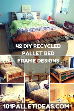Pallet Recycled 42 DIY Recycled Pallet Bed Frame Designs - Easy Pallet Ideas - This collection of 42 DIY pallet bed ideas which are here to get you inspired of wooden creativity and pallet wood recycling to make pallet projects. Pallet Bed Frames, Diy Pallet Bed, Pallet Ideas Easy, Diy Bed, Pallet Wood, Wood Pallets, Palette Deco, Bed Frame Design, Ideias Diy