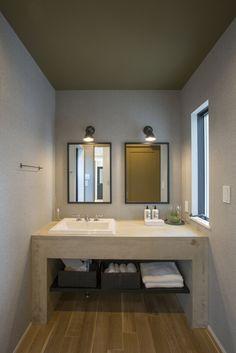 モルタルを使用した造作洗面台