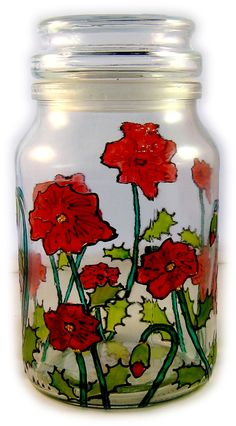 Designer Hand Painted Poppy coffee tea sugar Jar by HandPaintedJar on Etsy Sugar Jar, Poppy, Mason Jars, Hand Painted, Etsy Shop, Tea, Coffee, Unique Jewelry, Handmade Gifts