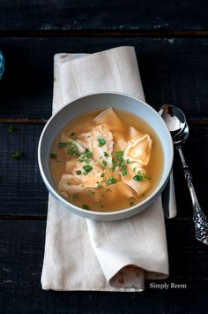 Delicious Chicken Wonton Soup.