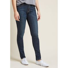 Wicked Badminton Jeans in Dark Wash ($59) ❤ liked on Polyvore featuring jeans, dark-wash jeans, dark denim jeans, stretchy jeans, super stretch jeans and mid rise stretch jeans