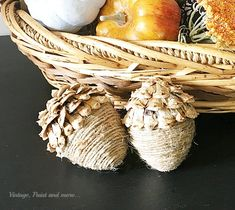 Vintage, Paint and more. easy acorns made with paper mache eggs, twine and pine cones to use in your fall decor Acorn Crafts, Pine Cone Crafts, Pumpkin Crafts, Autumn Crafts, Thanksgiving Crafts, Holiday Crafts, Rustic Fall Decor, Twine, Halloween