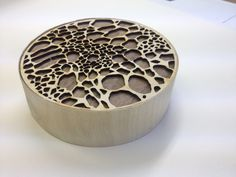 Jewellery box influenced by microscopic images.. Created using Adobe Illustrator to make pattern, and laser cutter to cut out the pieces... Finished using veneer wood. Year 2 Tm 2 <3