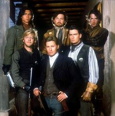 YOUNG GUNS - Back Row (l.) - Lou Diamond Phillips - Casey ____ - Durmot Mulrooney - Front Row (l.) - Keifer Sutherland - Emilio Estevez as 'Billy the Kid' - Charlie Sheen - Directed by Christopher - Century-Fox - Publicity Still. Emilio Estevez, Charlie Sheen, Dermot Mulroney, Kiefer Sutherland, Billy The Kids, Young Guns, Thing 1, Western Movies, Great Movies