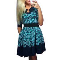 2017 Spring Summer Women Fashion Floral Half Sleeve Slim Dresses Vogue Sweet Elegant Fit Casual Sexy A-Line Mini Dress Plus Size