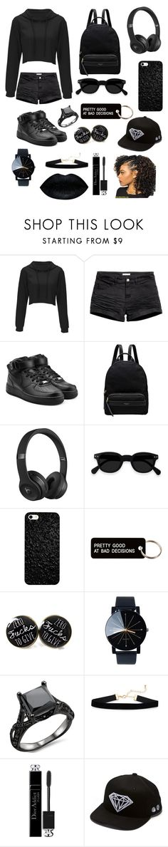 """""""All black"""" by surbimikaelyan ❤ liked on Polyvore featuring H&M, NIKE, Radley, Beats by Dr. Dre, Various Projects, Christian Dior and Diamond Supply Co."""