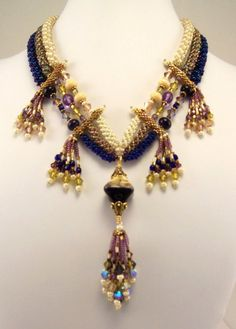 INK Necklace and Earring Set  By; Marsha Wiest-Hines  of Haute Ice Beadwork