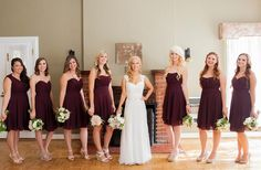 Similar to my wine bridesmaid dresses, but my dress is in champagne, love the sage green in the flowers