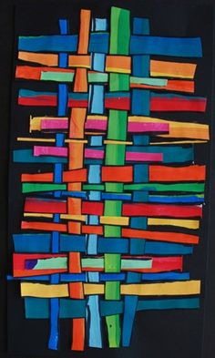 Painted paper weaving - cool and hot colors, large sharpie lines for stripes before cutting